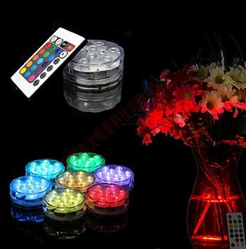 Remote controlled 10 Multi-colors LED vase light,submersible led light,waterproof light