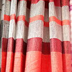 Curtain - Red and Grey Pattern
