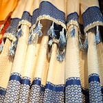Curtain - Blue Colour and Beige