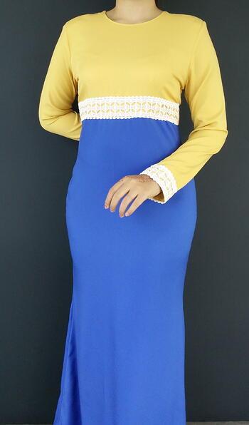 Jubah Modern - HA684FD Col 27/77 Yellow/Blue Size XS
