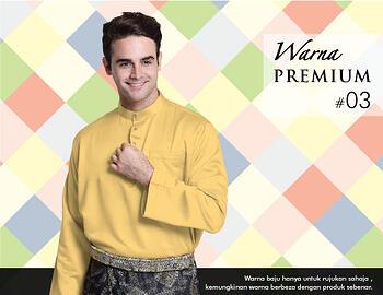 Baju Melayu -100 Warna Premium 03 Yellow - Size M