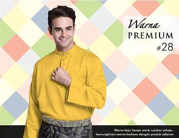 Baju Melayu -100 Warna Premium 28 Yellow Size XXL