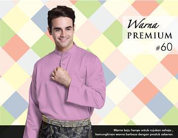 Baju Melayu -100 Warna Premium 60 Purple Size L