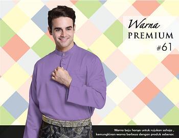 Baju Melayu -100 Warna Premium 61 Purple Size XL