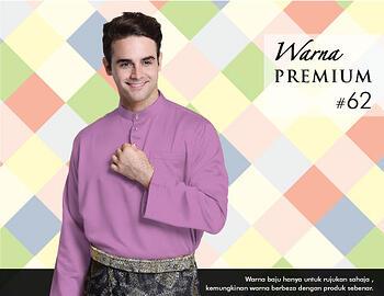 Baju Melayu -100 Warna Premium 62 Purple Size M