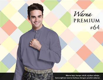 Baju Melayu -100 Warna Premium 64 Purple  Size XXL