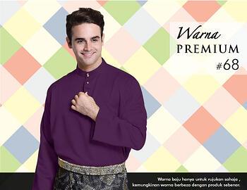 Baju Melayu -100 Warna Premium 68 Purple Size XXL