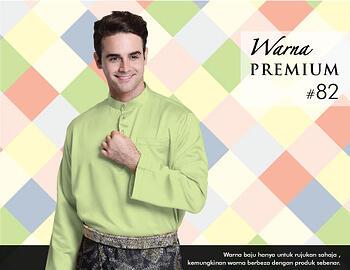 Baju Melayu -100 Warna Premium 82 Green Size L