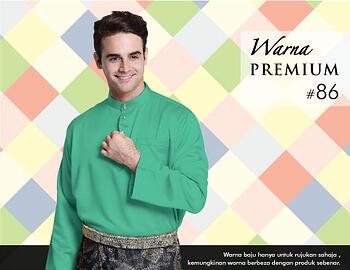 Baju Melayu -100 Warna Premium 86 Green Size L
