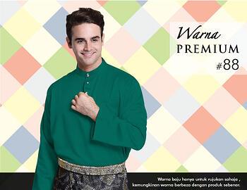 Baju Melayu -100 Warna Premium 88 Green Size XS