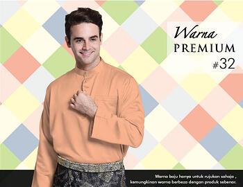 Baju Melayu -100 Warna Premium 32 Orange Size XXL
