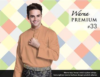 Baju Melayu -100 Warna Premium 33 Orange Size L