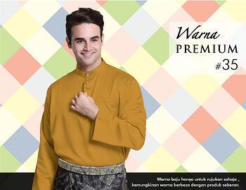 Baju Melayu -100 Warna Premium 35 Orange Size L