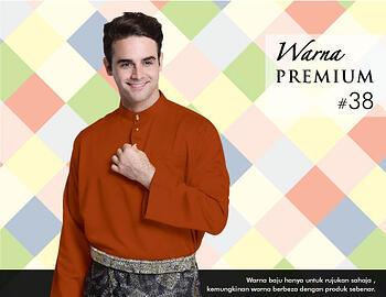 Baju Melayu -100 Warna Premium 38 Orange Size L