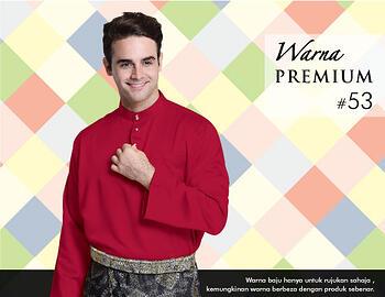 Baju Melayu -100 Warna Premium 53 Red Size XXL