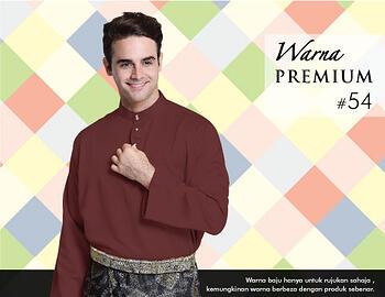 Baju Melayu -100 Warna Premium 54 Red Size L