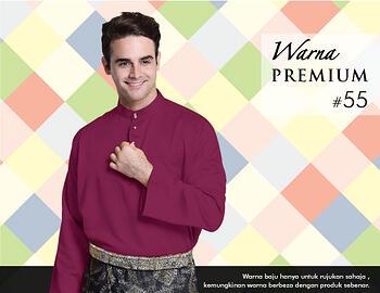 Baju Melayu -100 Warna Premium 55 Red Size L