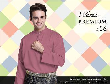 Baju Melayu -100 Warna Premium 56 Red Size L
