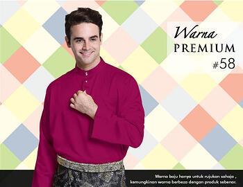 Baju Melayu -100 Warna Premium 58 Red Size XXL