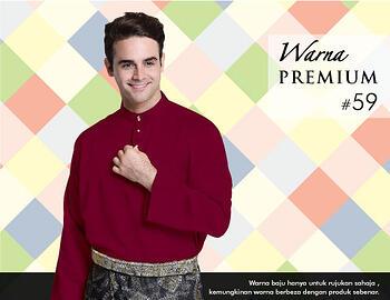 Baju Melayu -100 Warna Premium 59 Red Size XXL