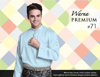 Baju Melayu -100 Warna Premium 71 Blue Size XXL