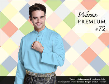 Baju Melayu -100 Warna Premium 72 Blue Size L