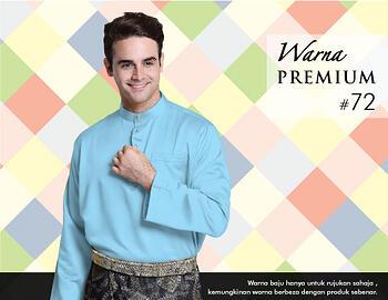 Baju Melayu -100 Warna Premium 72 Blue Size XL
