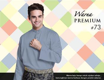 Baju Melayu -100 Warna Premium 73 Blue Size L