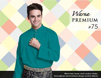 Baju Melayu -100 Warna Premium 75 Blue Size L