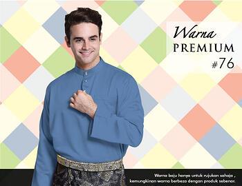 Baju Melayu -100 Warna Premium 76 Blue Size L