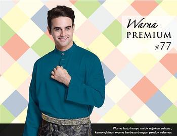 Baju Melayu -100 Warna Premium 77 Blue Size S