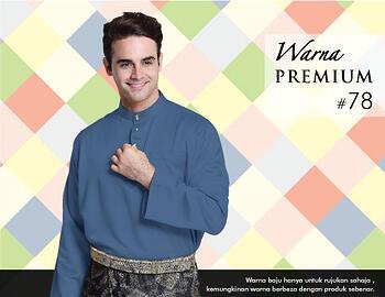 Baju Melayu -100 Warna Premium 78 Blue Size L