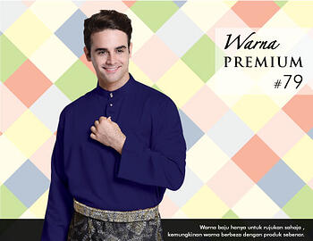 Baju Melayu -100 Warna Premium 79 Blue Size M