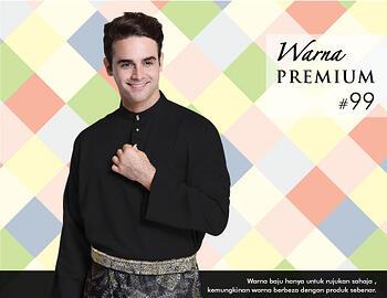 Baju Melayu -100 Warna Premium 99 Black Size XXL