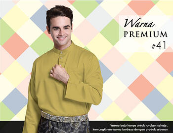 Baju Melayu -100 Warna Premium 41 Brown Size L