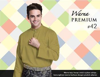 Baju Melayu -100 Warna Premium 42 Brown Size M