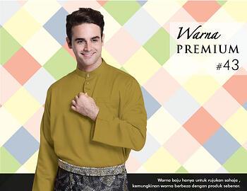 Baju Melayu -100 Warna Premium 43 Brown Size L