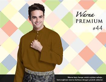 Baju Melayu -100 Warna Premium 44 Brown Size L