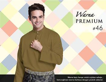 Baju Melayu -100 Warna Premium 46 Brown Size L