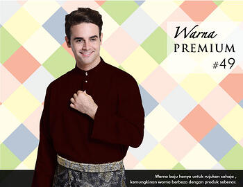 Baju Melayu -100 Warna Premium 49 Brown Size M