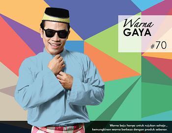Baju Melayu -100 Warna Gaya 70 Blue Size M