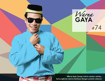 Baju Melayu -100 Warna Gaya 74 Blue Size XL