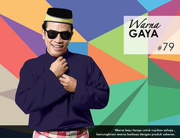 Baju Melayu -100 Warna Gaya 79 Blue Size XL