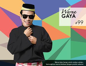 Baju Melayu -100 Warna Gaya 99 Black Size XXL