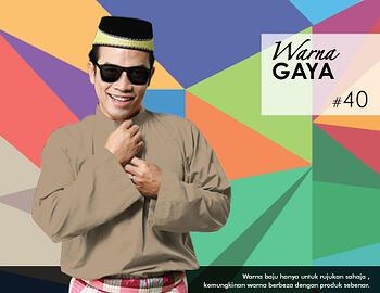 Baju Melayu -100 Warna Gaya 40 Brown Size M