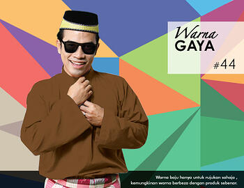 Baju Melayu -100 Warna Gaya 44 Brown Size XL
