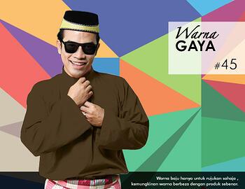 Baju Melayu -100 Warna Gaya 45 Brown Size L