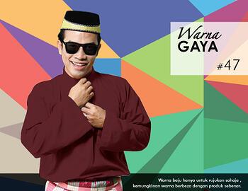 Baju Melayu -100 Warna Gaya 47 Brown Size L