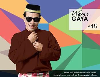 Baju Melayu -100 Warna Gaya 48 Brown Size L