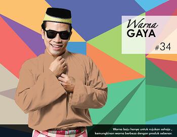 Baju Melayu -100 Warna Gaya 34 Orange Size L